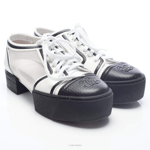 Chanel Textured Leather and Mesh Platform Sneakers