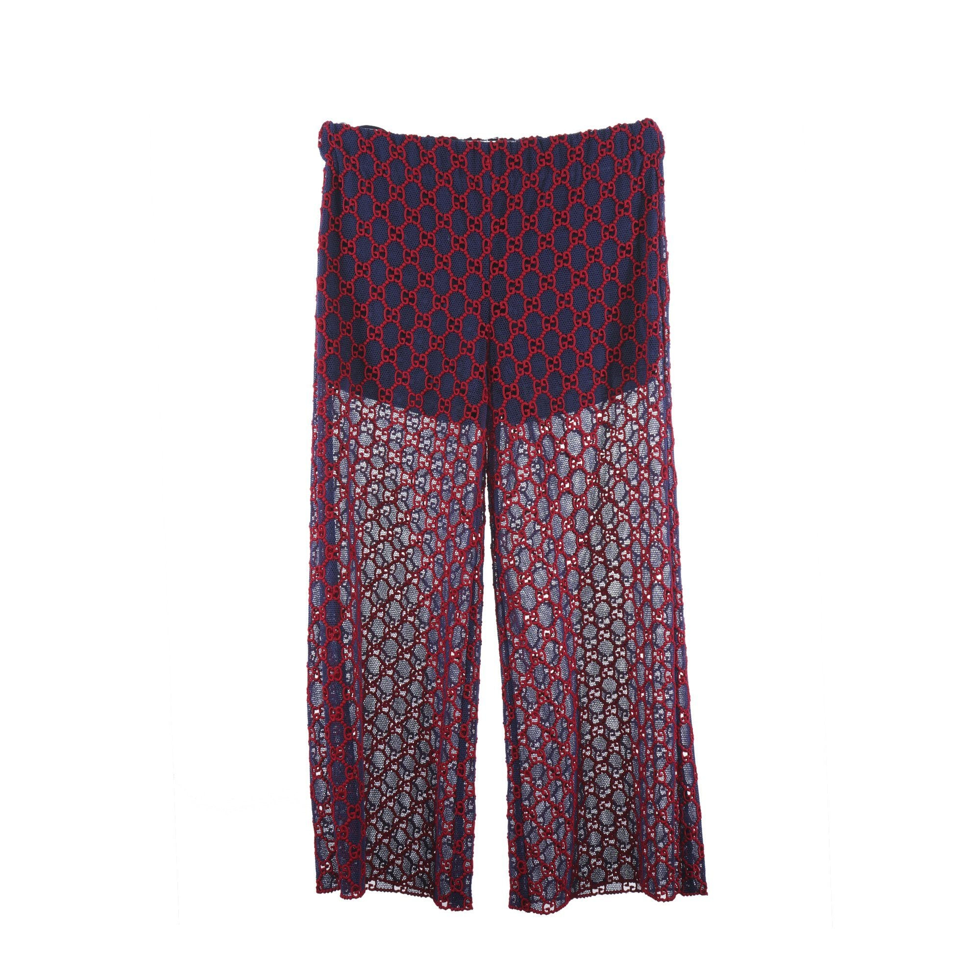 Gucci GG Red Blue Macramé Wide-Leg Pant