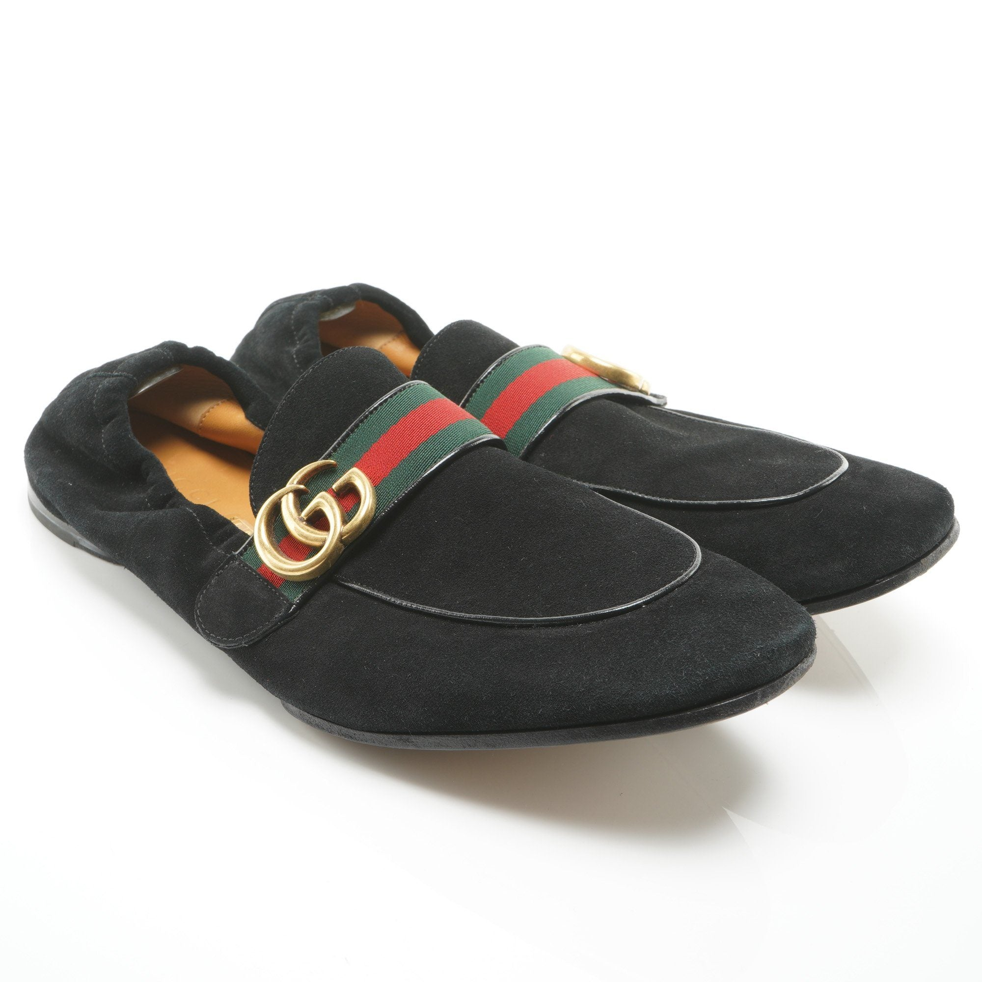 Gucci Black GG Plaque Web Loafers
