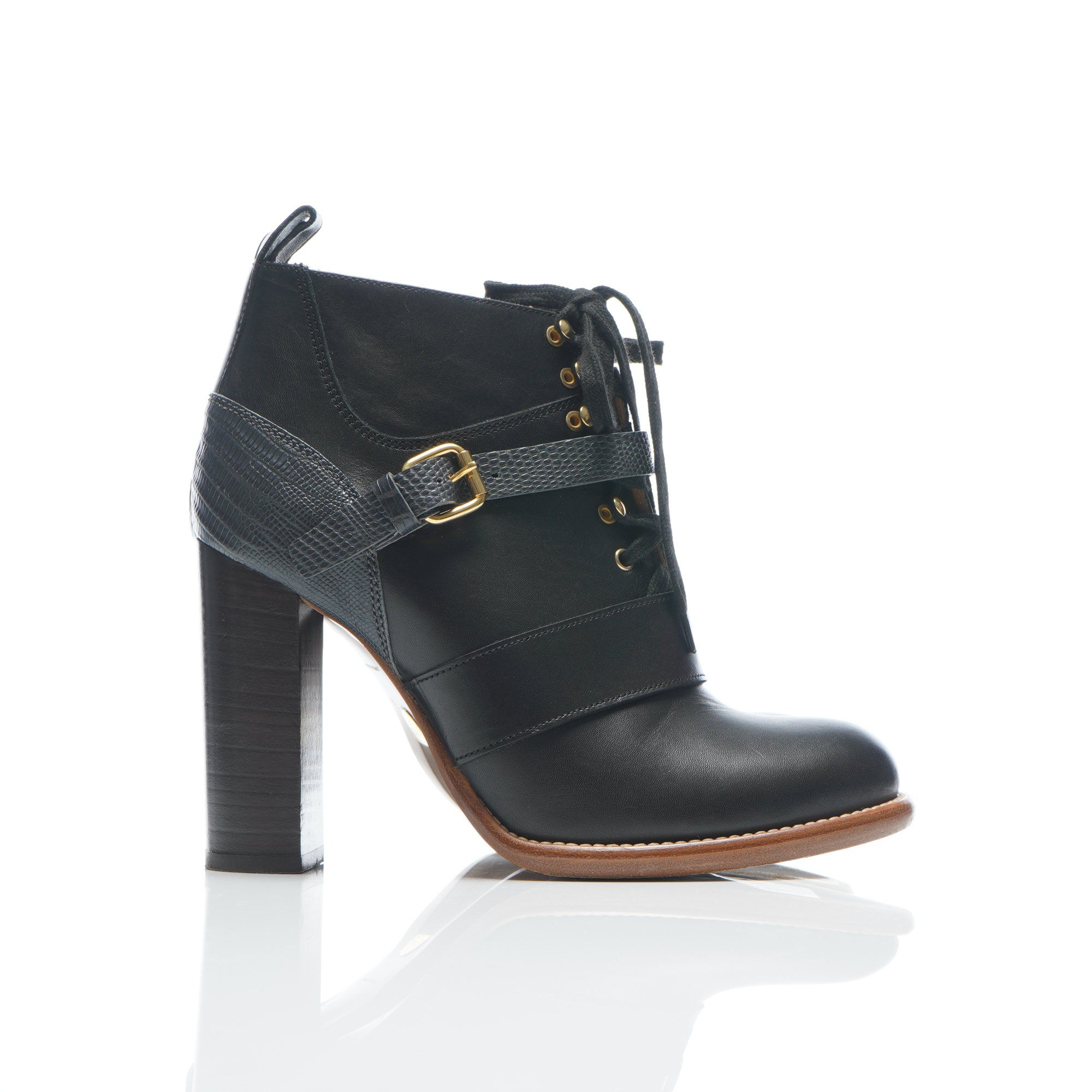 Chloe Black Leather Ankle Chunky Heel Bootie