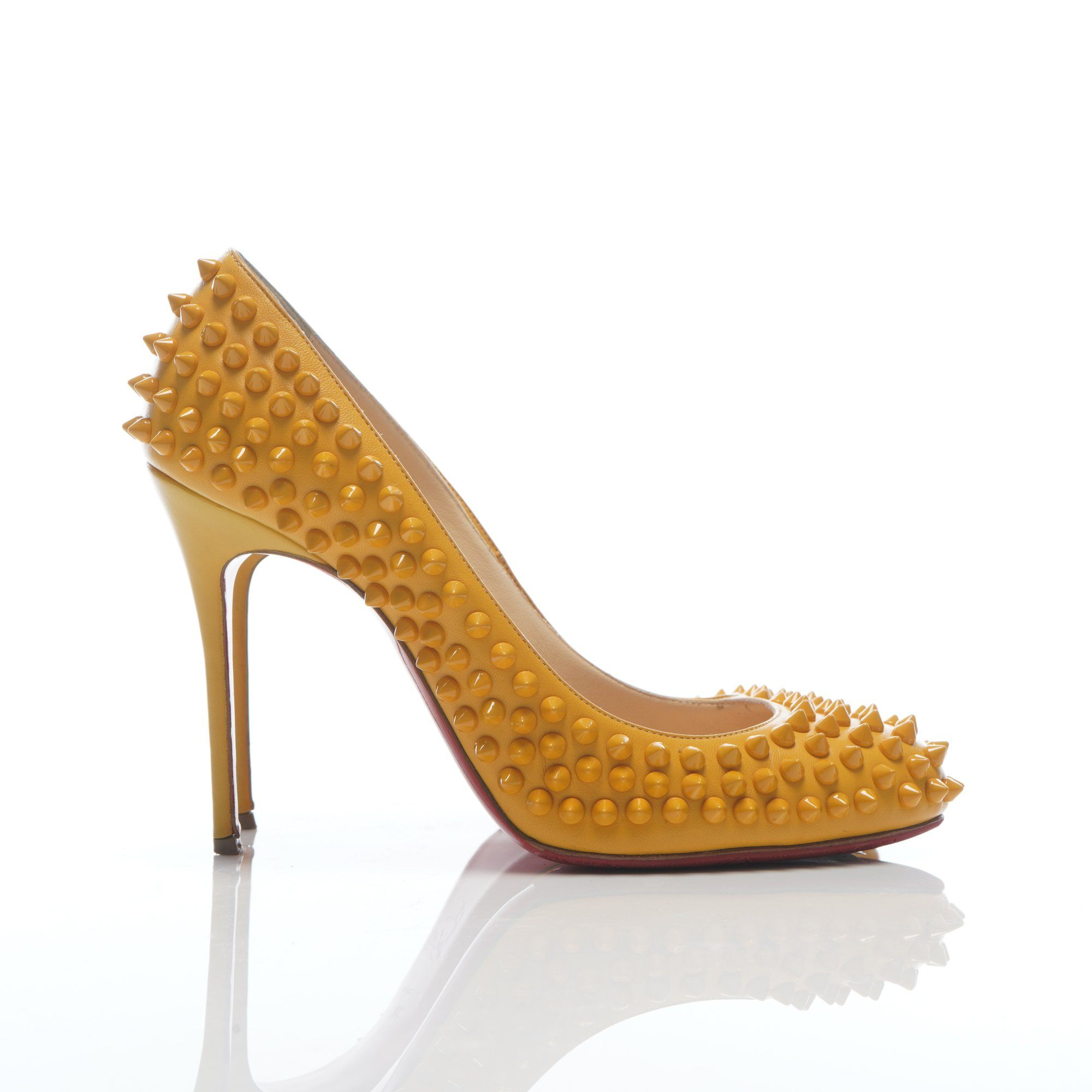 Christian Louboutin Fifi Spike Yellow Pumps