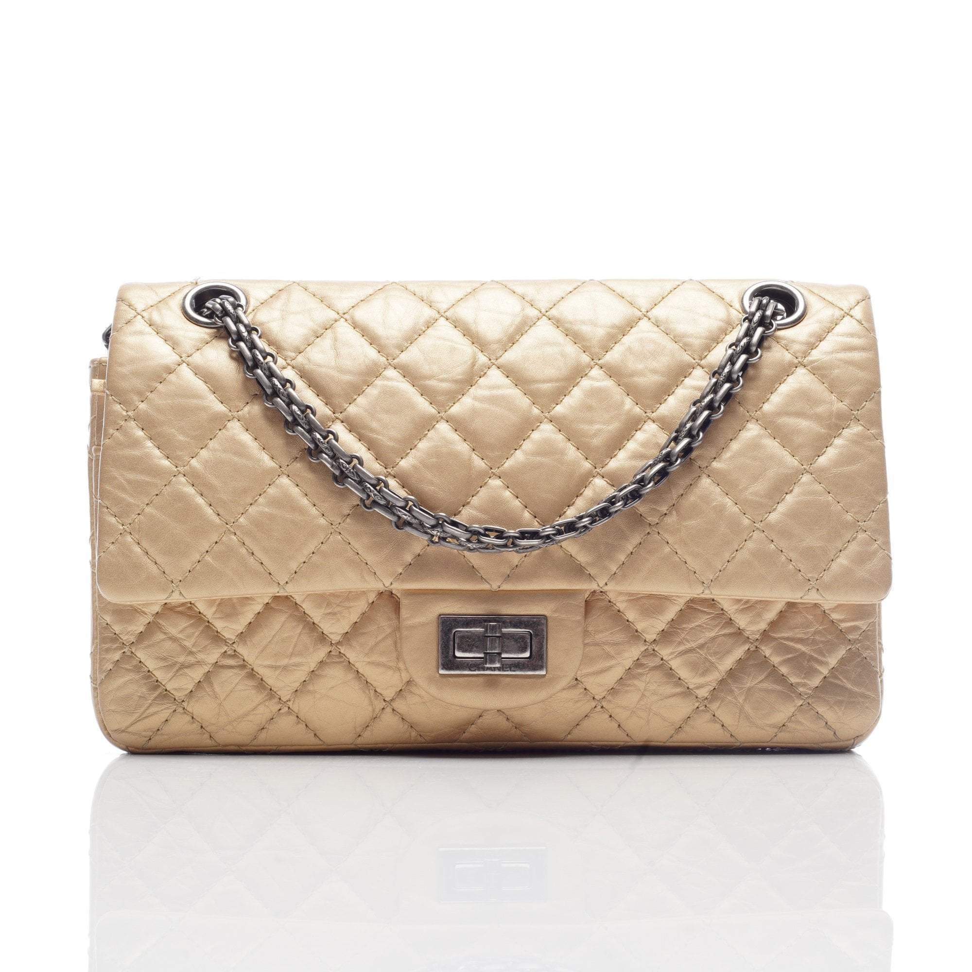 Chanel Gold 2.55 Reissue Classic 225 Double Flap Bag