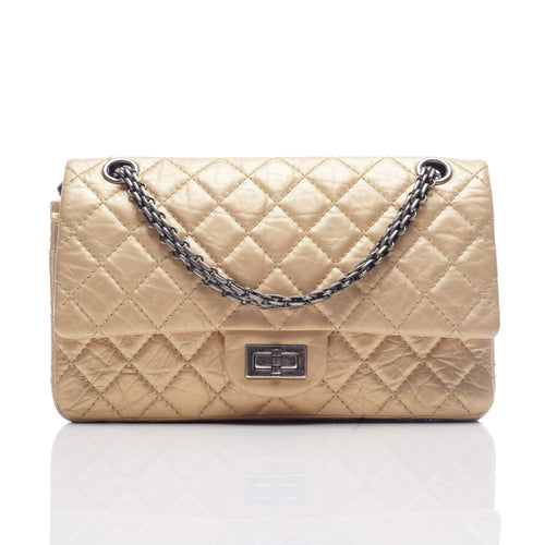 Chanel Gold Leather Small 2.25 Reissue Double Flap Bag