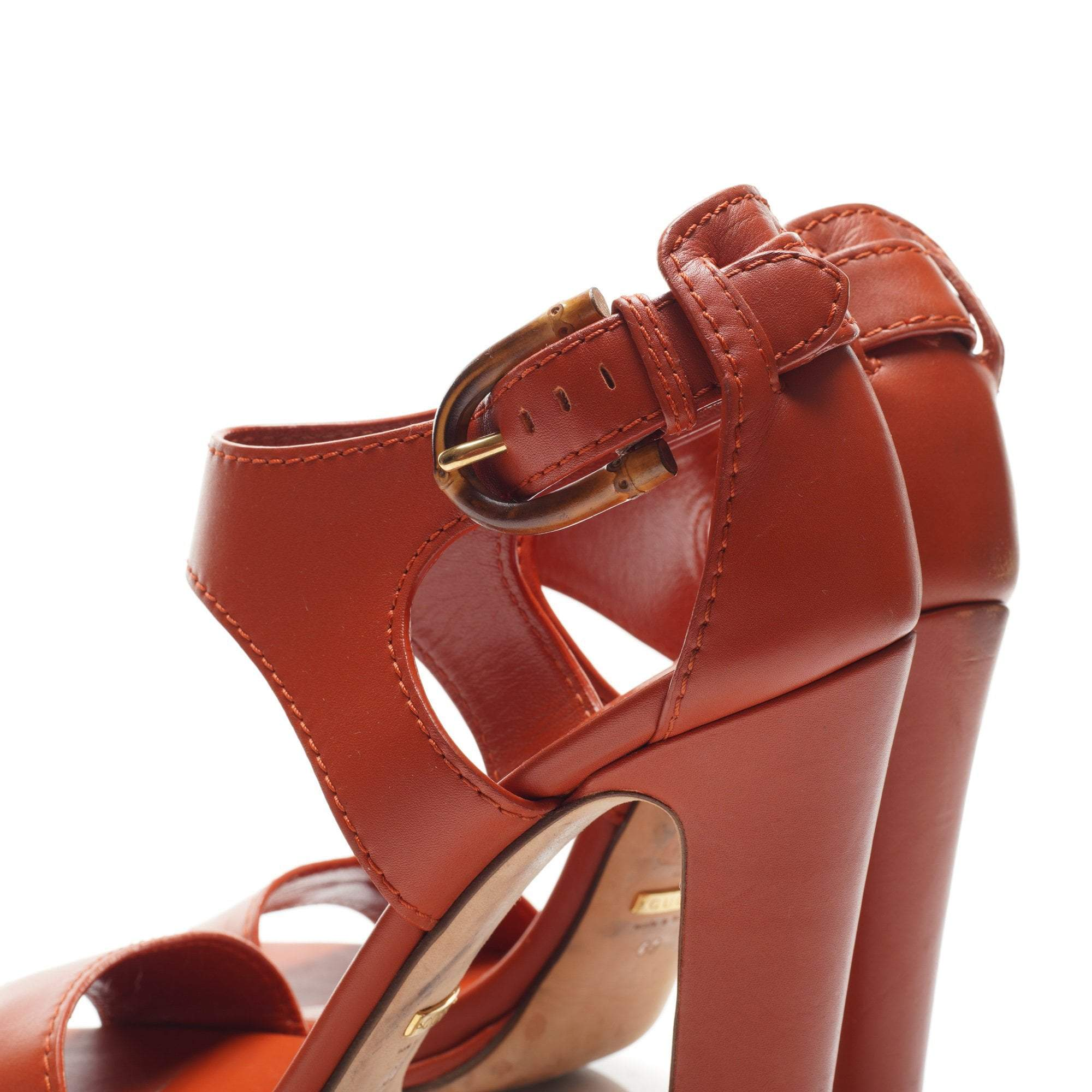 Gucci Tan Bamboo Buckle Heel Sandals