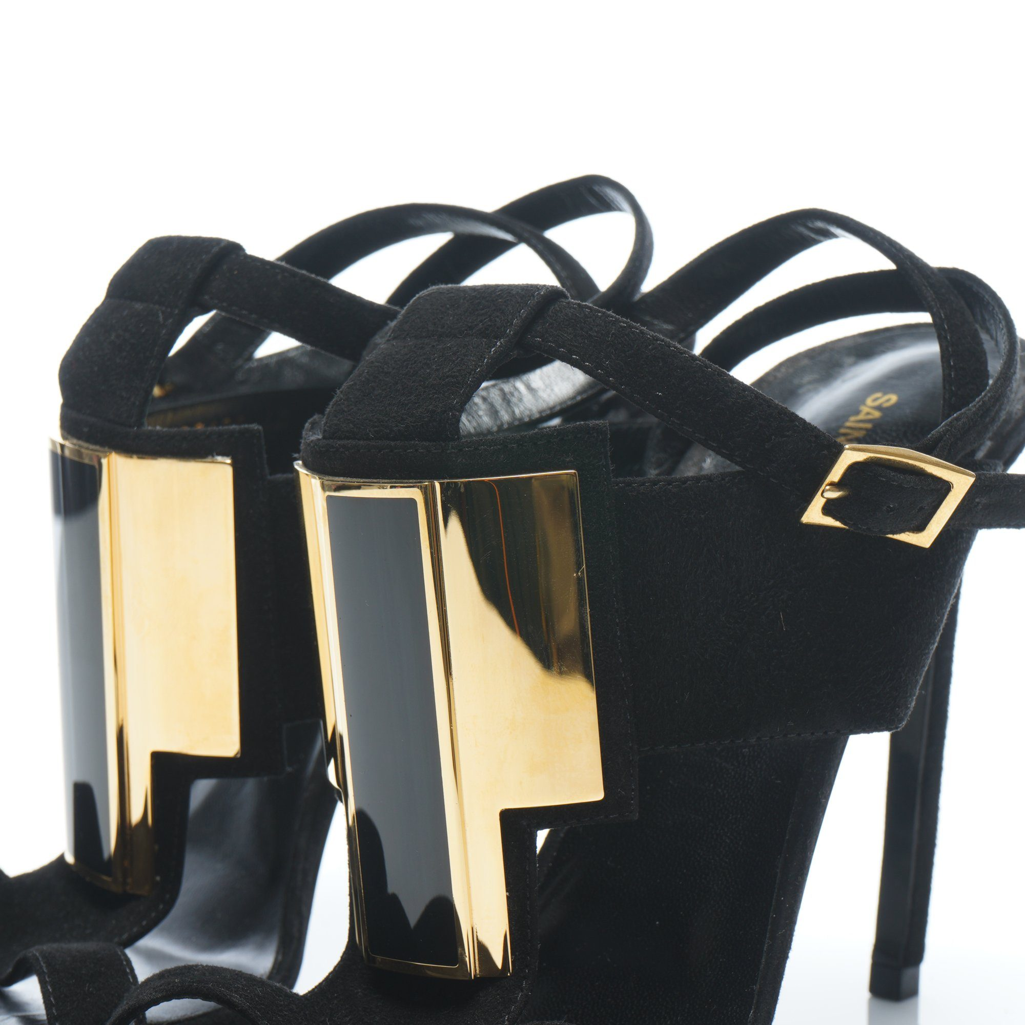 Saint Laurent Janis Suede Gold Plate Buckle Strap Sandals