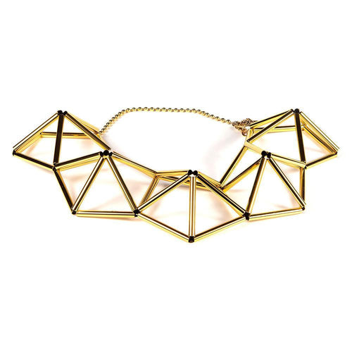 WXYZ Gio Pentagon Gold Plated Brass Necklace
