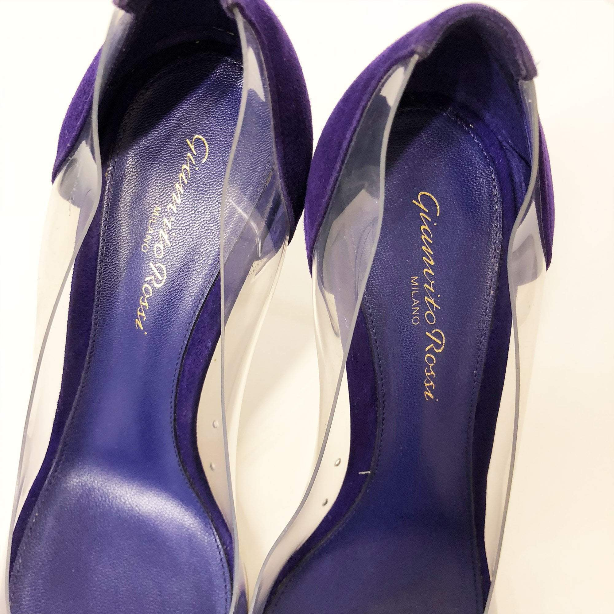 Gianvito Rossi Purple Suede Plexi Pumps