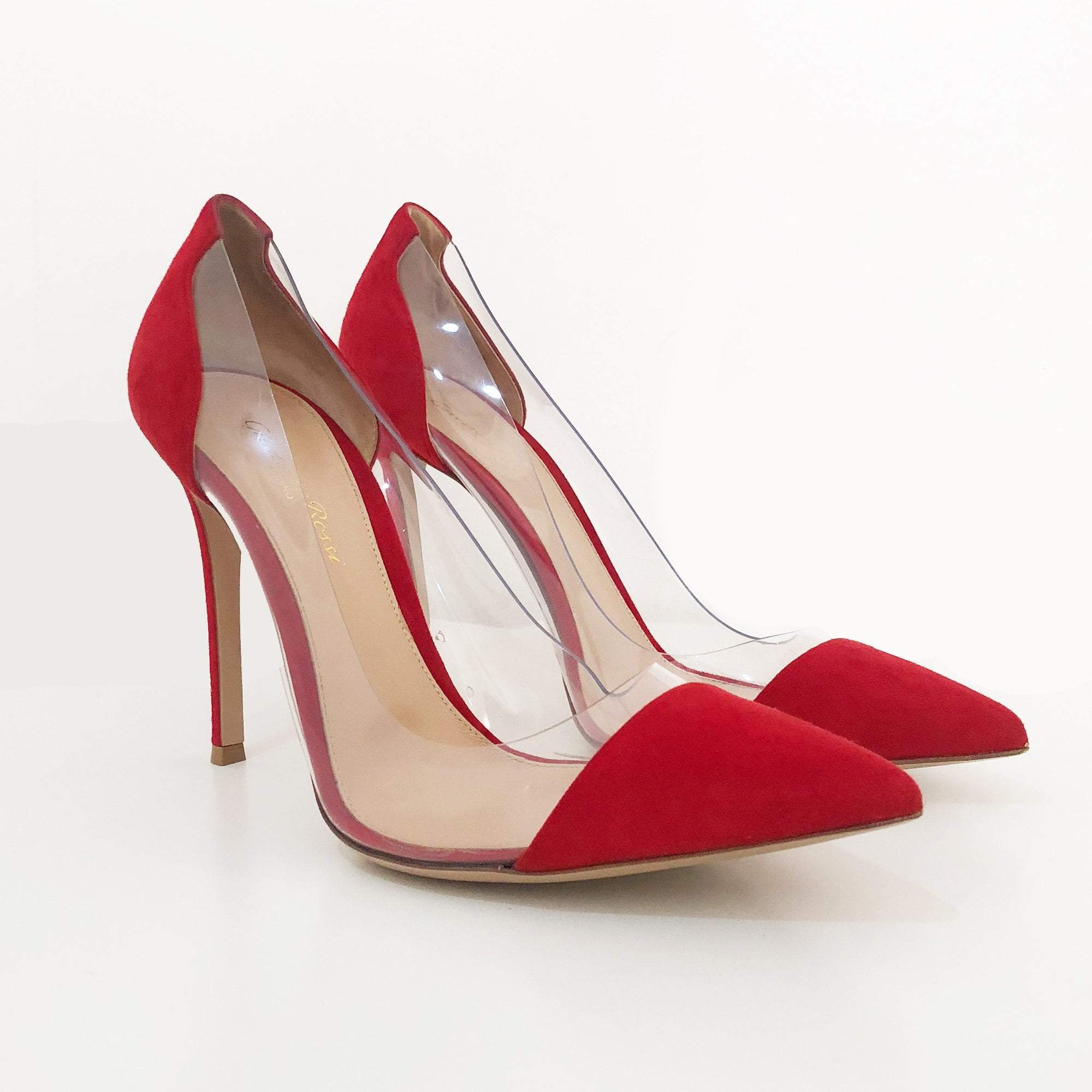 Gianvito Rossi Red Suede and PVC Pumps