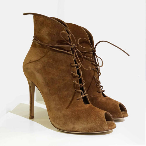 Gianvito Rossi Suede Jane Ankle Booties