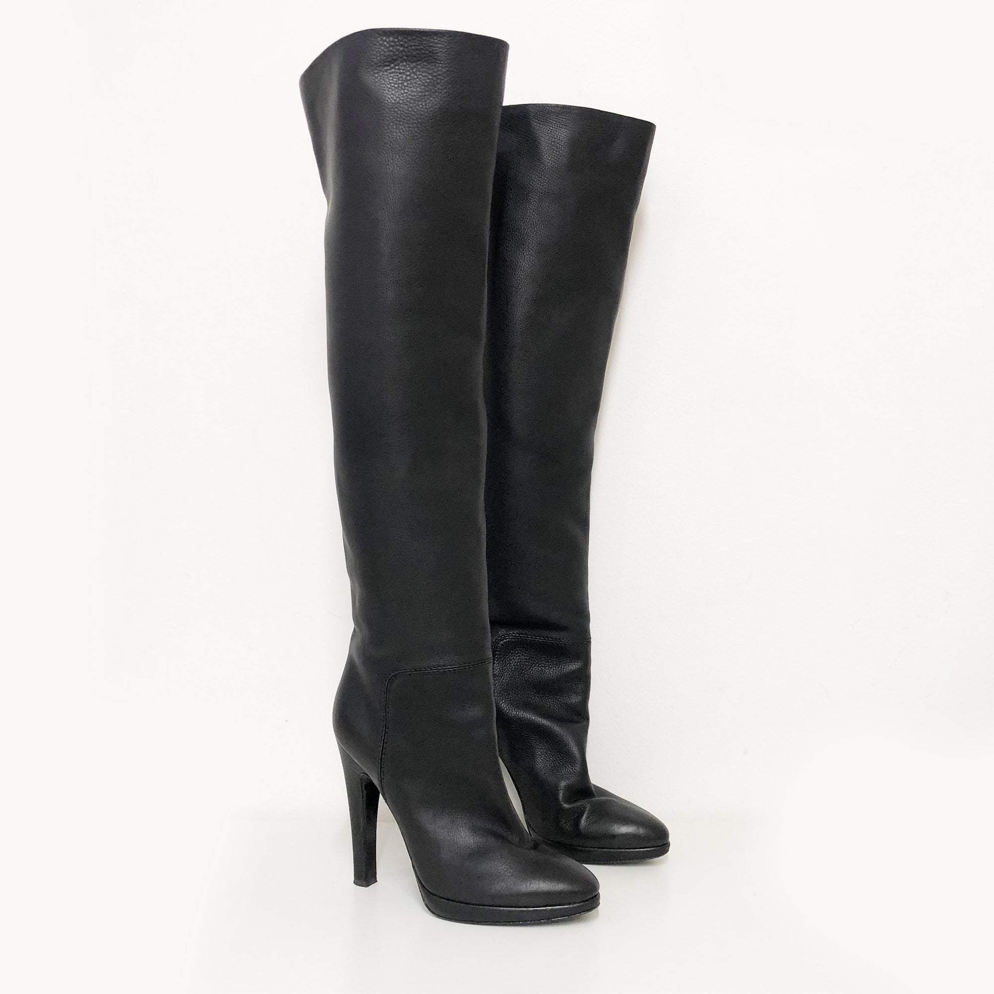 Giuseppe Zanotti Black Leather Knee High Heeled Boots