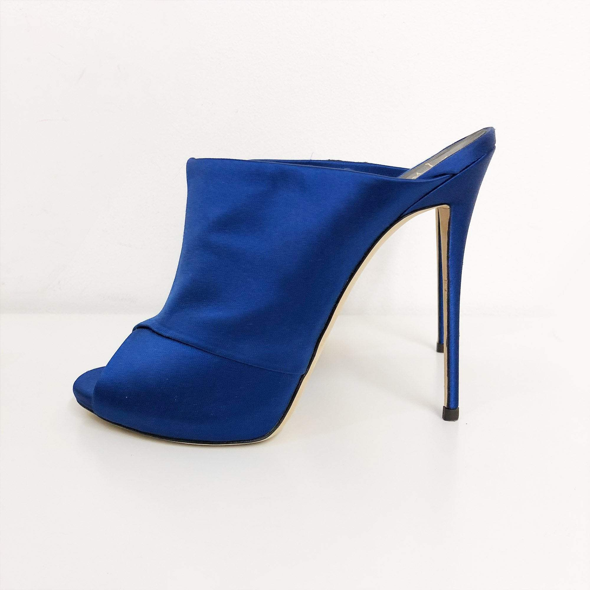 Giuseppe Zanotti Lady Mules With Blue Satin Wrap