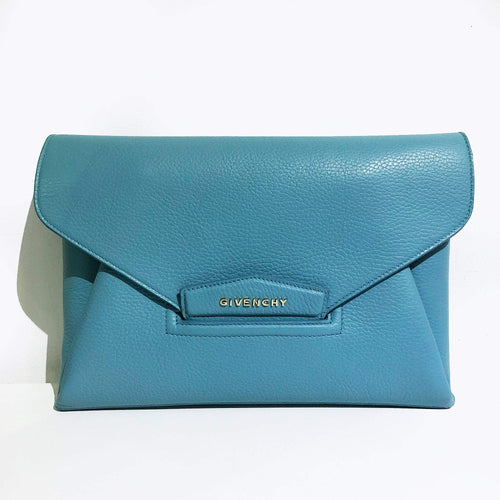 Givenchy Antigona Blue textured-leather clutch