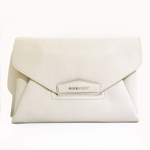Givenchy Antigona Ivory Textured-leather Clutch