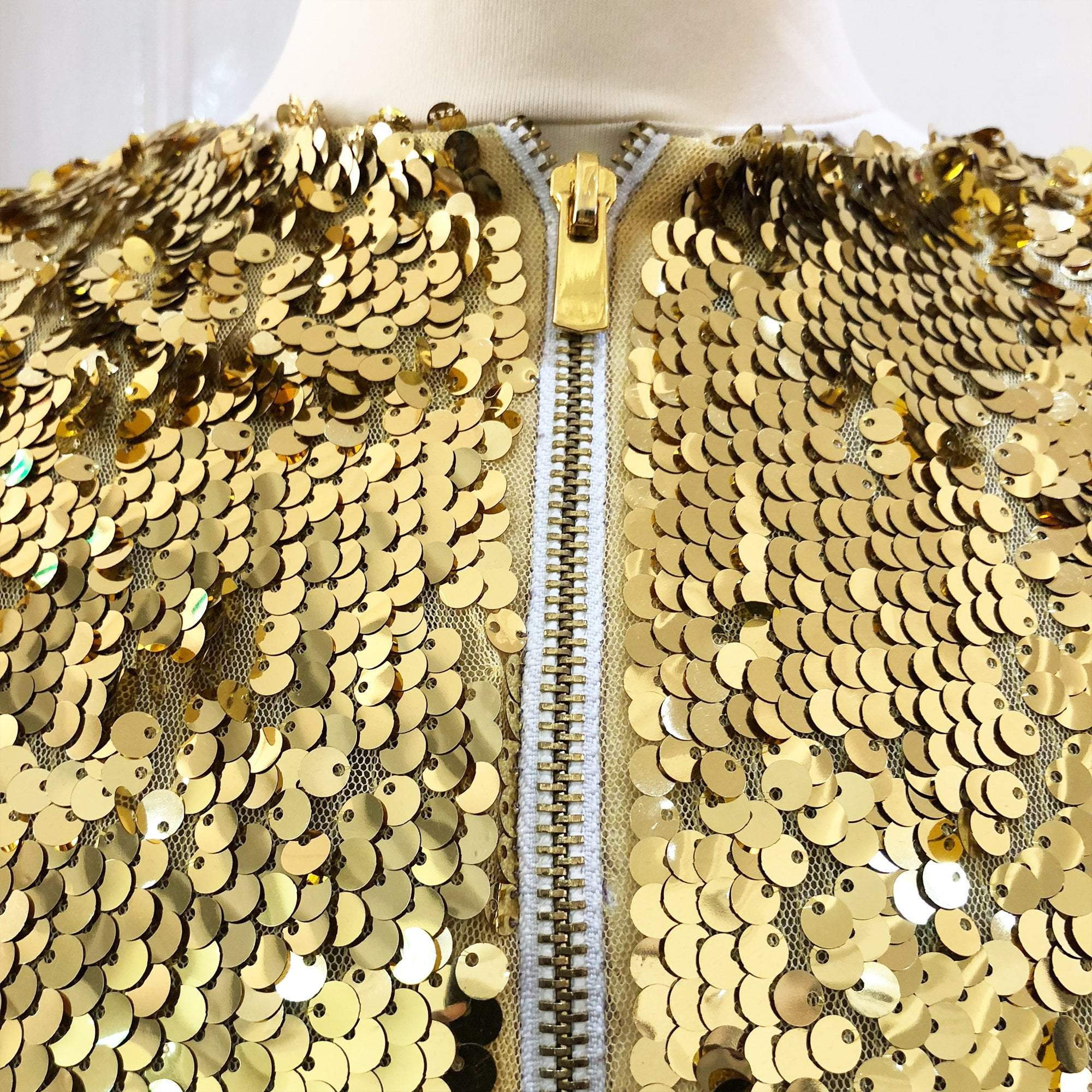 Gold Sequin Zipped Crop Top