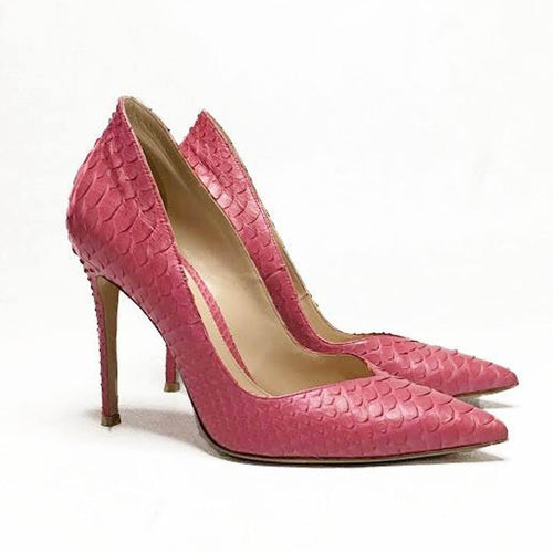 Gianvito Rossi Pink Python Pointed Pumps