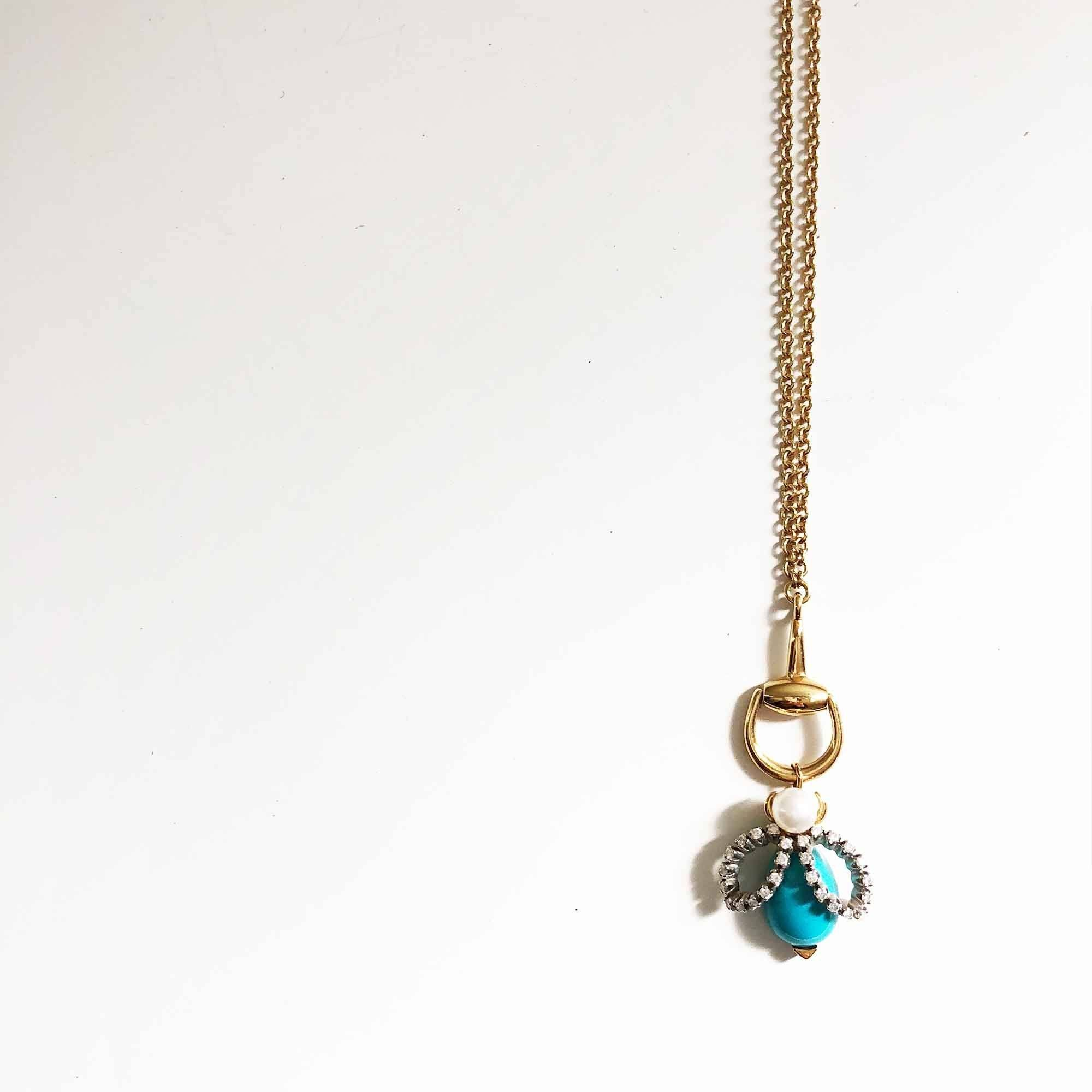 Gucci 18 K Gold Pearl Diamond Turquoise Horsebit Ladybug Necklace
