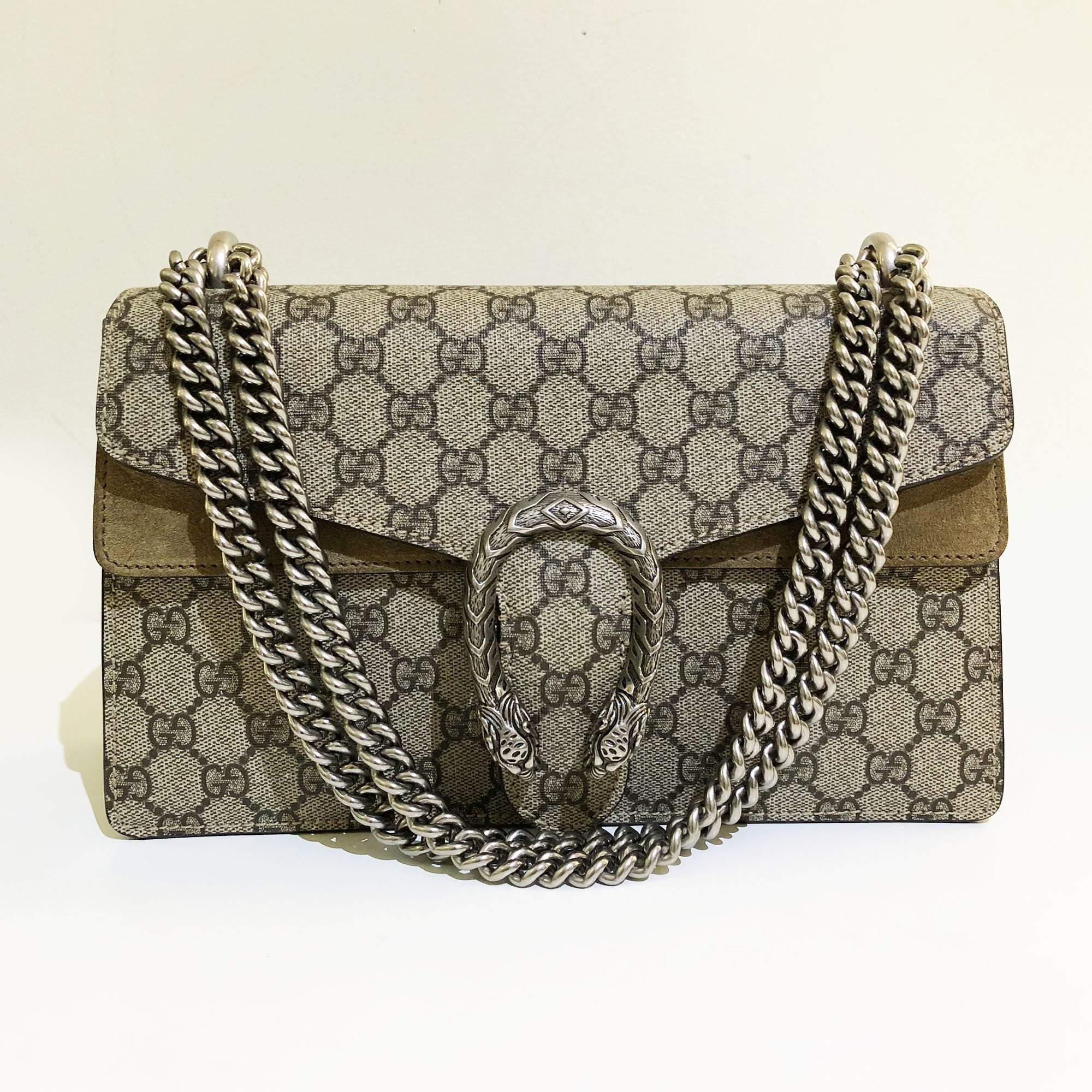 29c761be5d Gucci Beige Dionysus GG Supreme Suede Shoulder Bag – Garderobe