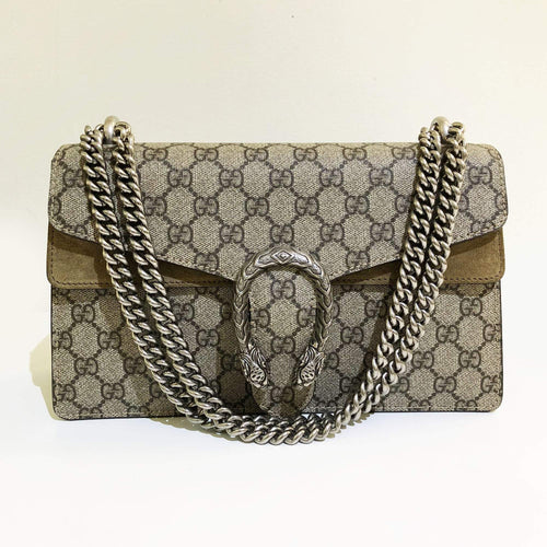 Gucci Beige Dionysus GG Supreme Suede Shoulder Bag