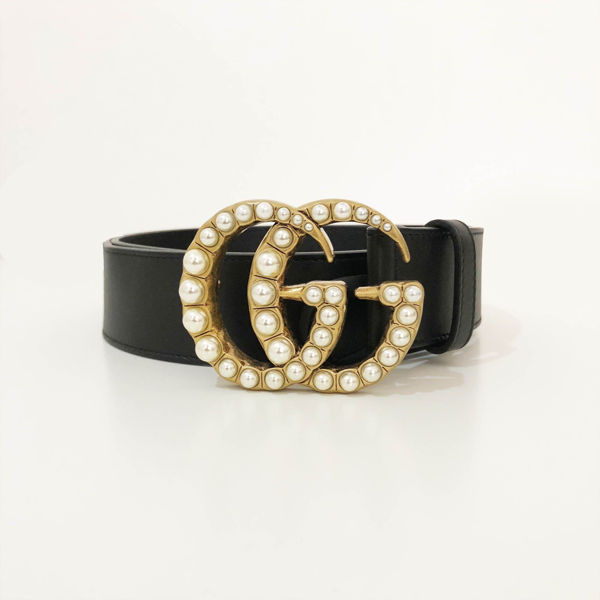 721265aca3a Gucci Black Leather Belt with Pearl Double G – Garderobe