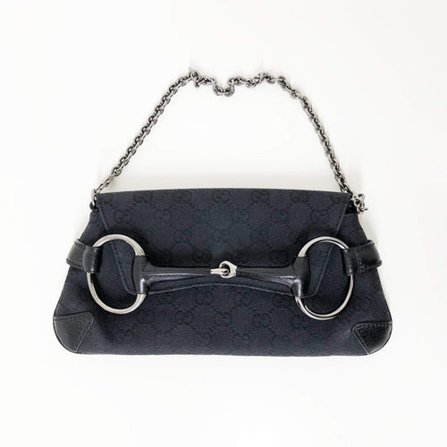 Gucci Black Monogram Horse Bit Clutch