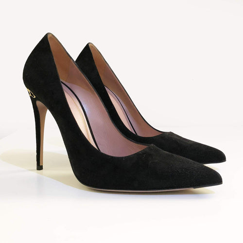 Gucci Black Suede Adina Pumps With Horsebit Heel