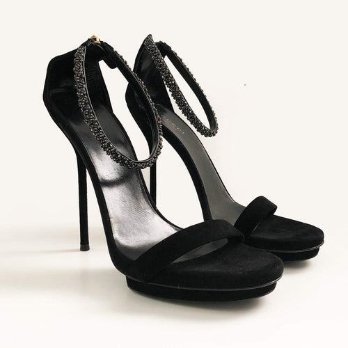 Gucci Black Suede Crystal Embellished Ankle Strap Sandals