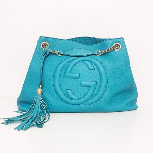 Gucci Blue Leather Medium Soho Shoulder Bag