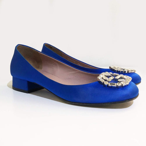 Gucci Blue Satin Gg Swarovski Crystal Logo Square Toe Pumps