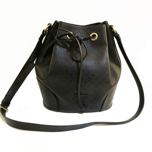 Gucci Bright Diamante Black Medium Leather Bucket Bag