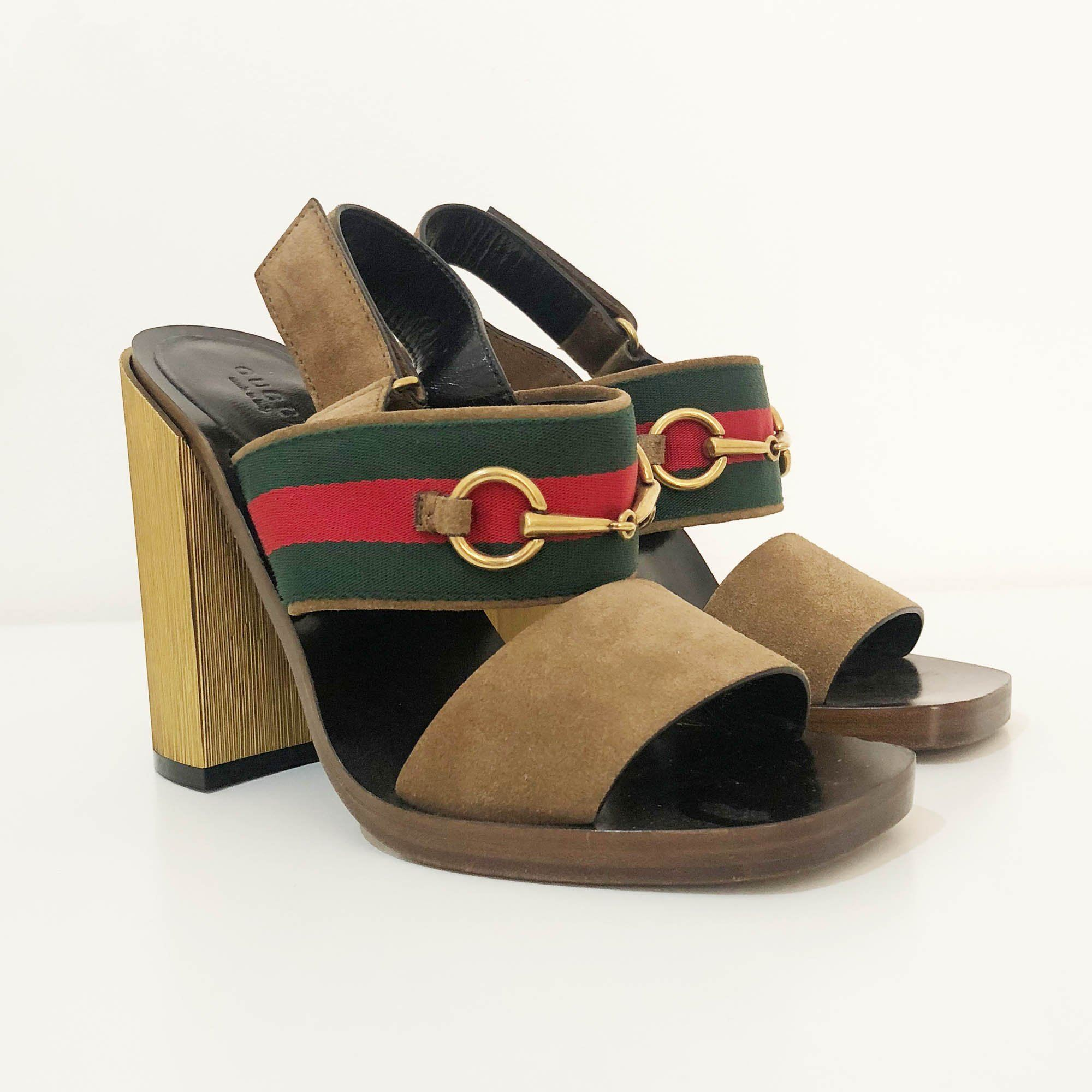 Gucci Brown Suede And Green Web Stripe Horsebit Slingback Sandals