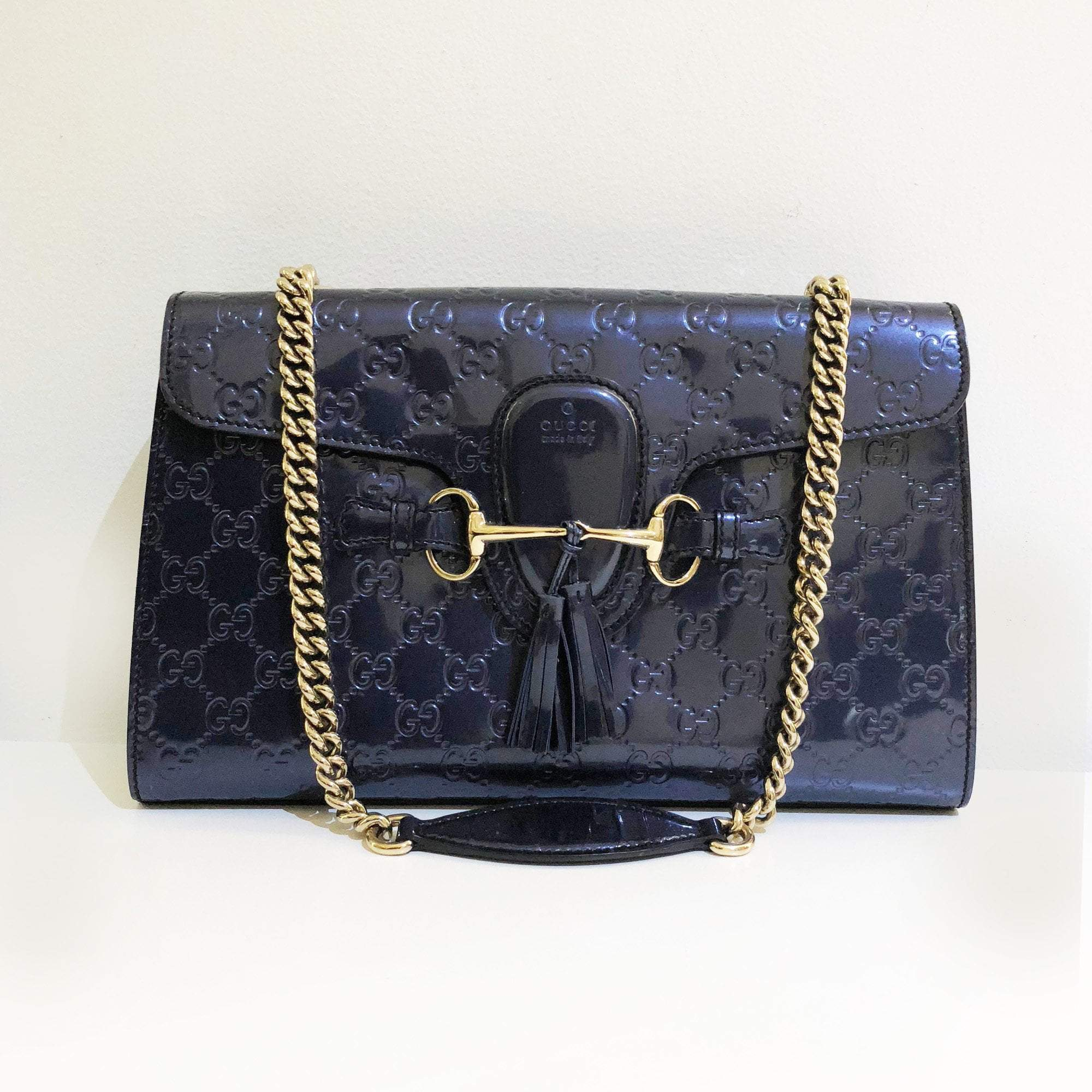 d3a53a49ea3e0f Gucci Emily Medium Guccissima Leather Chain Shoulder Bag – Garderobe
