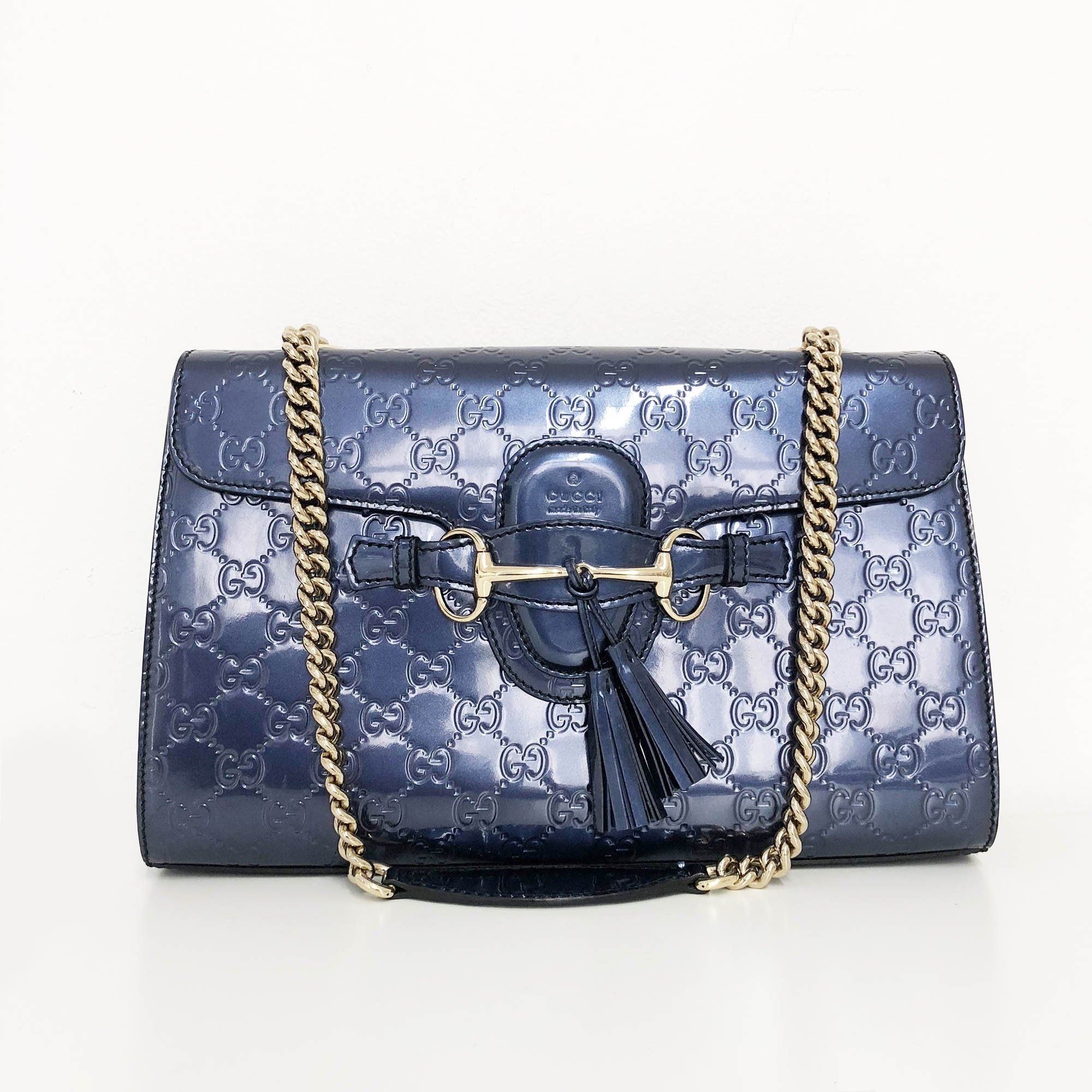 Gucci Emily Medium Guccissima Leather Chain Shoulder Bag