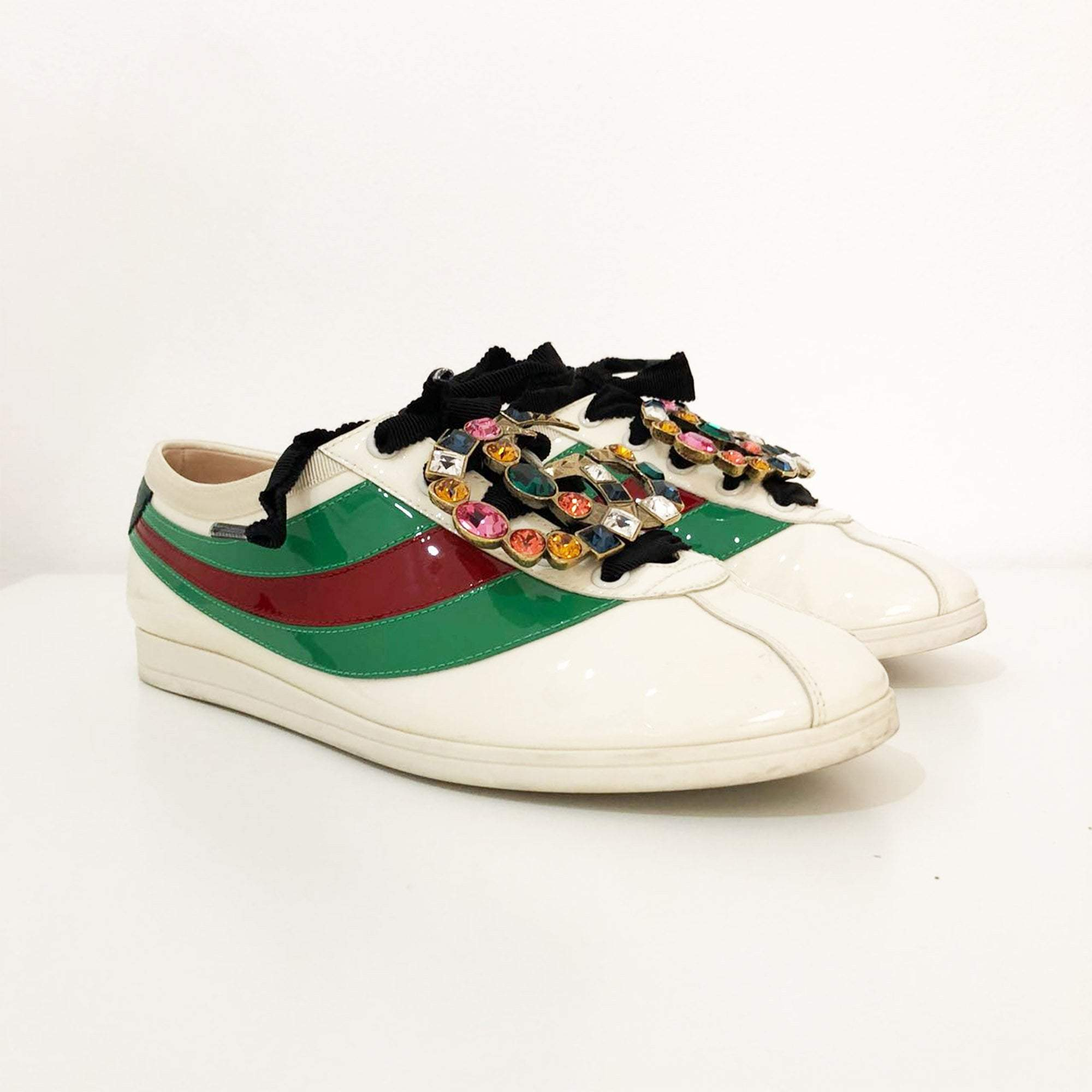 6627a71a34a Gucci Falacer Patent Leather Sneaker with Web – Garderobe