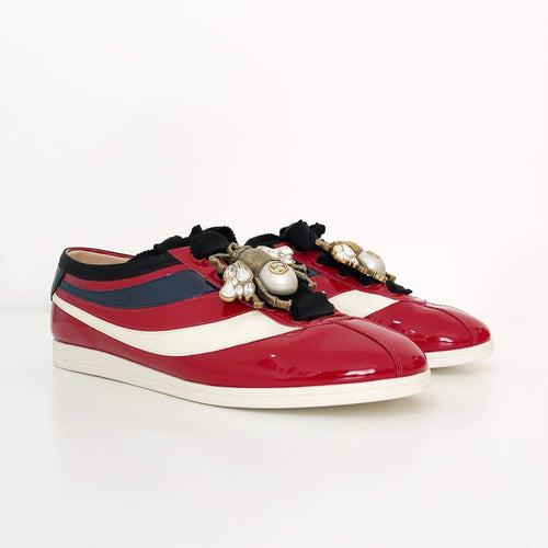 Gucci Falacer Red Patent Leather Sneaker With Web