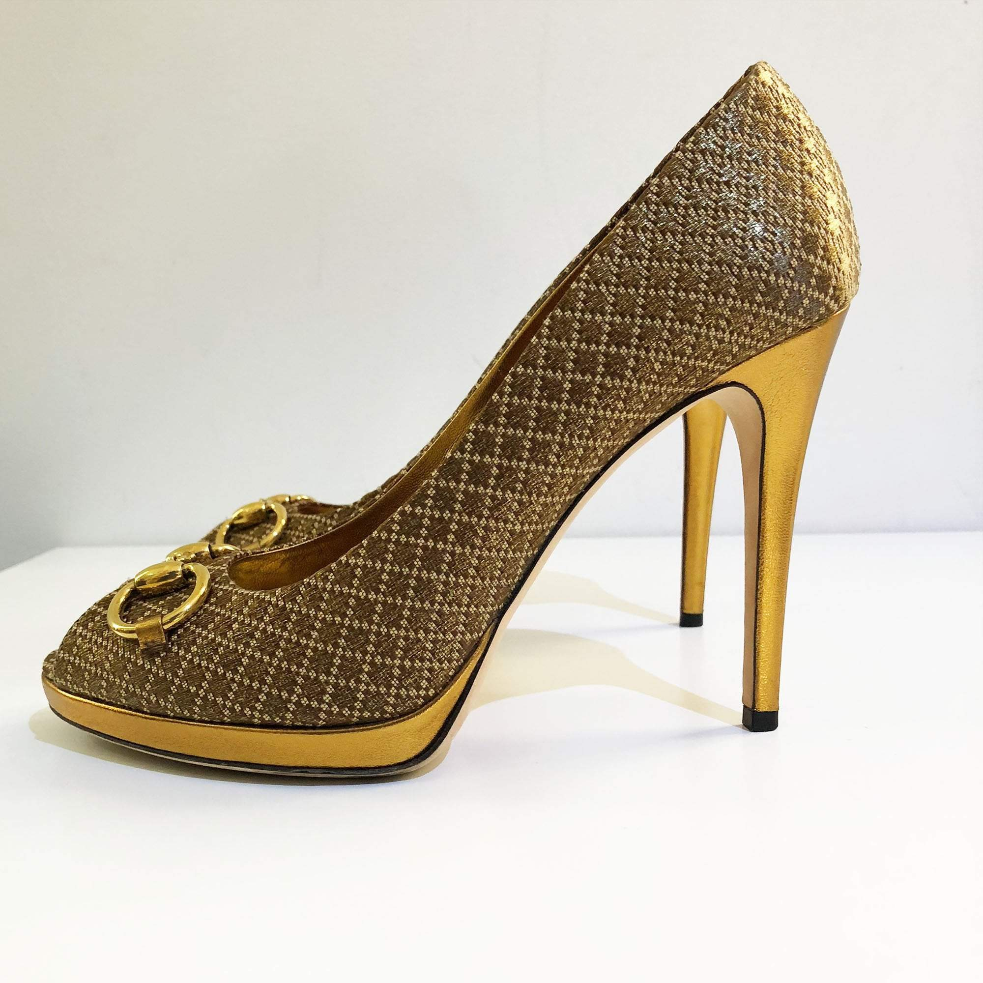 Gucci Gold Horsebit Peep Toe Pumps