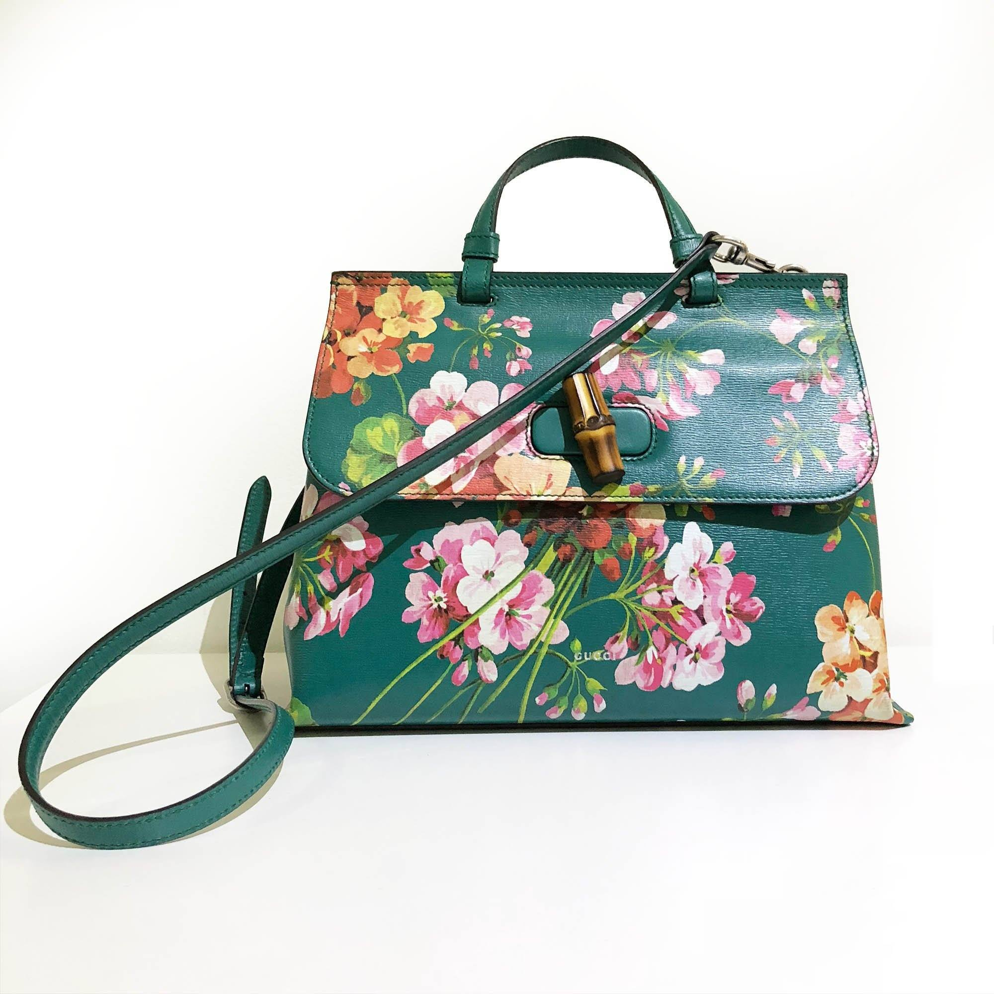 Gucci Green Shanghai Blooms Top Handle Flower Bag Handbag