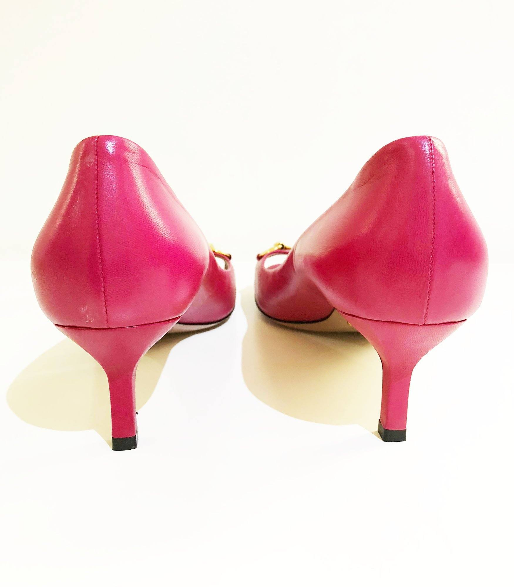 Gucci Pink Horsebit Peep Toe Pumps