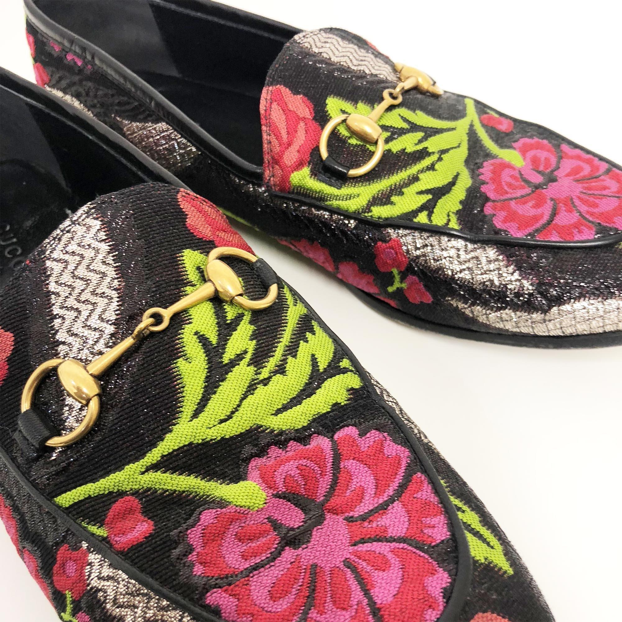 Gucci Jordaan horsebit brocade loafers