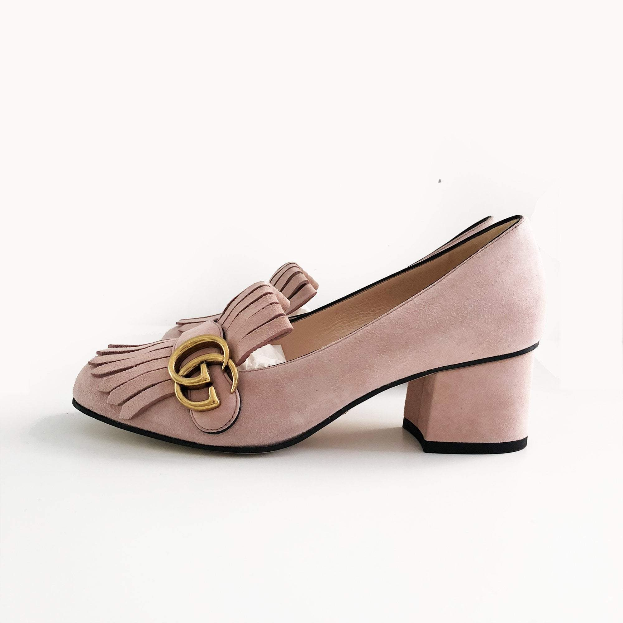Gucci Marmont Fringe Light Pink Suede Pumps