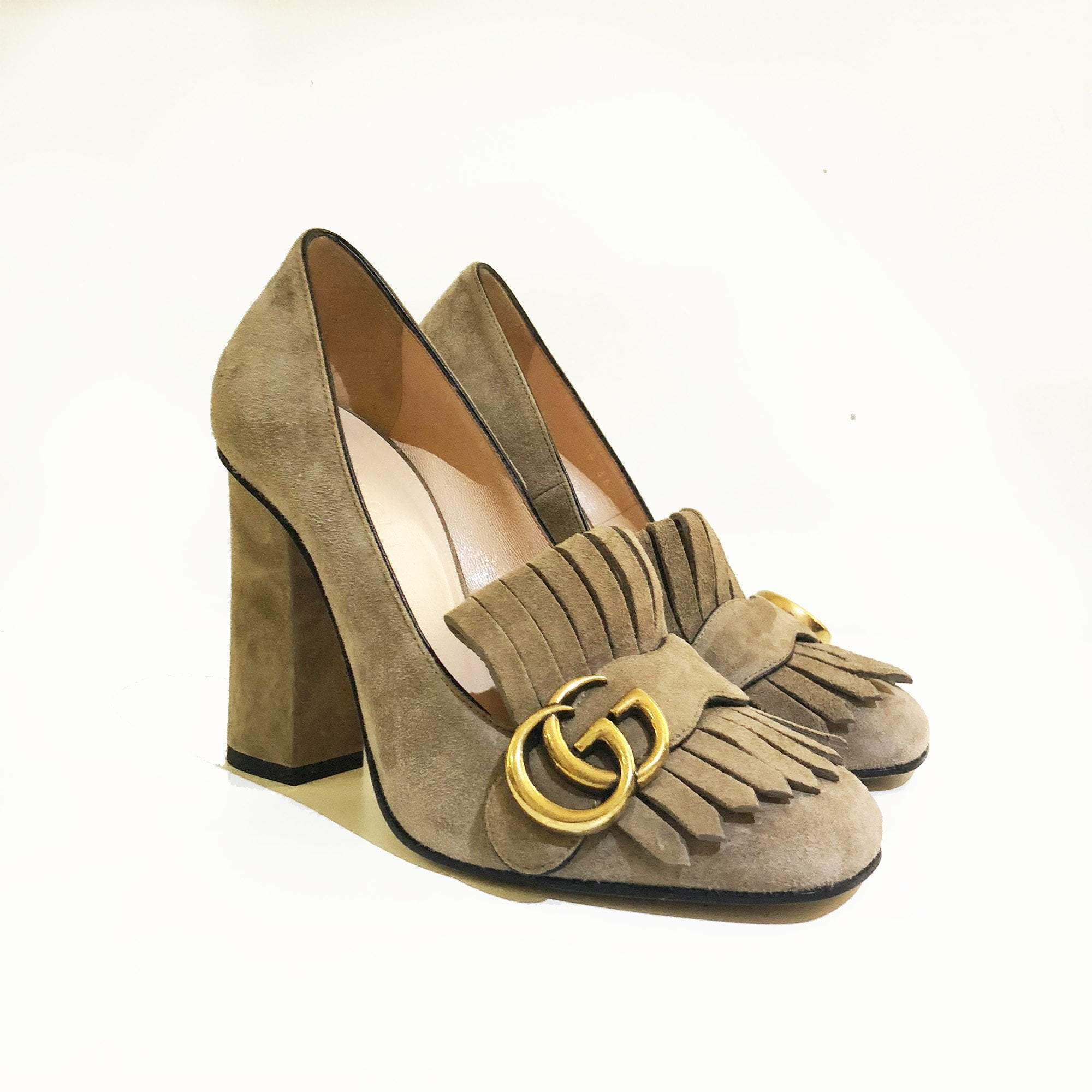 Gucci Marmont Fringe Taupe Suede Pumps