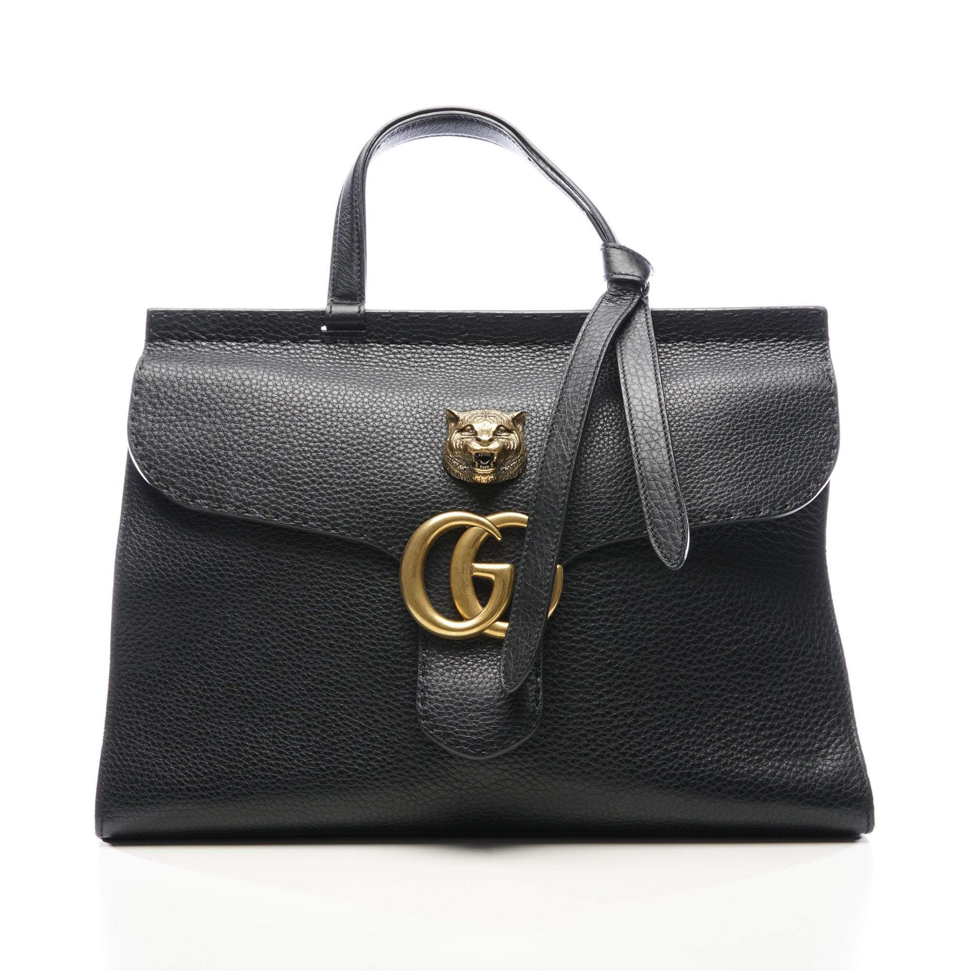 Gucci Calfskin Medium GG Marmont Top Handle Bag Black