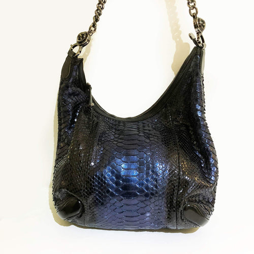 Gucci Navy Blue Python Hobo Bag