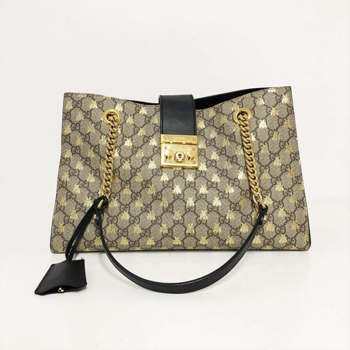 Gucci Padlock Medium GG bees shoulder bag