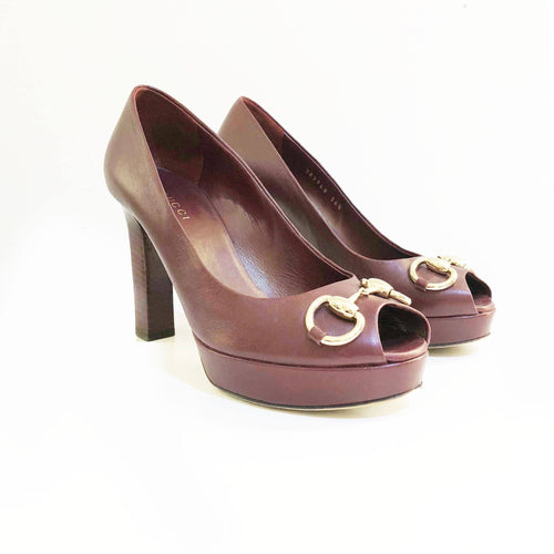 Gucci Burgundy Horsebit Peep Toe Pumps
