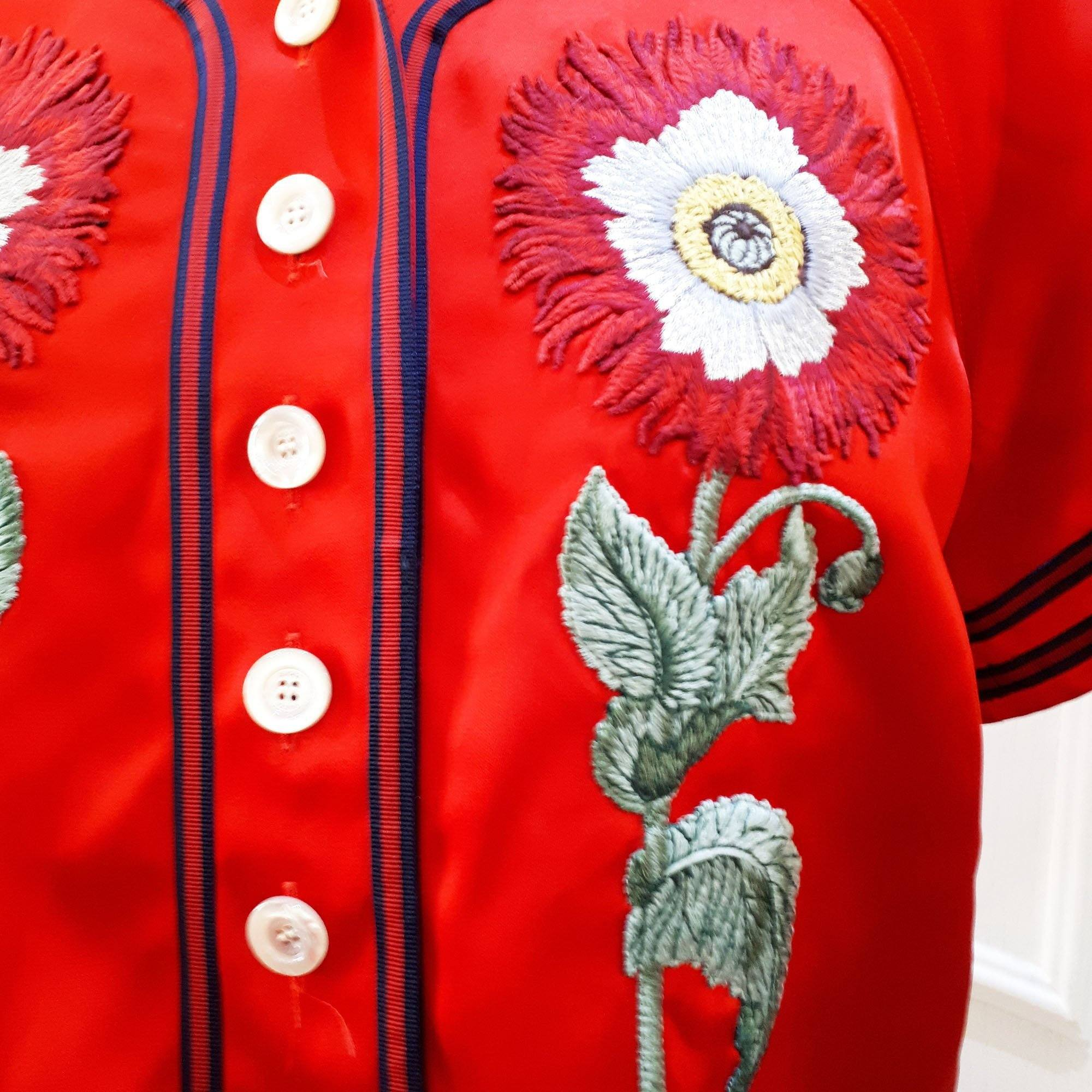 Gucci Red Embroidered Set (Shirt and Pants)