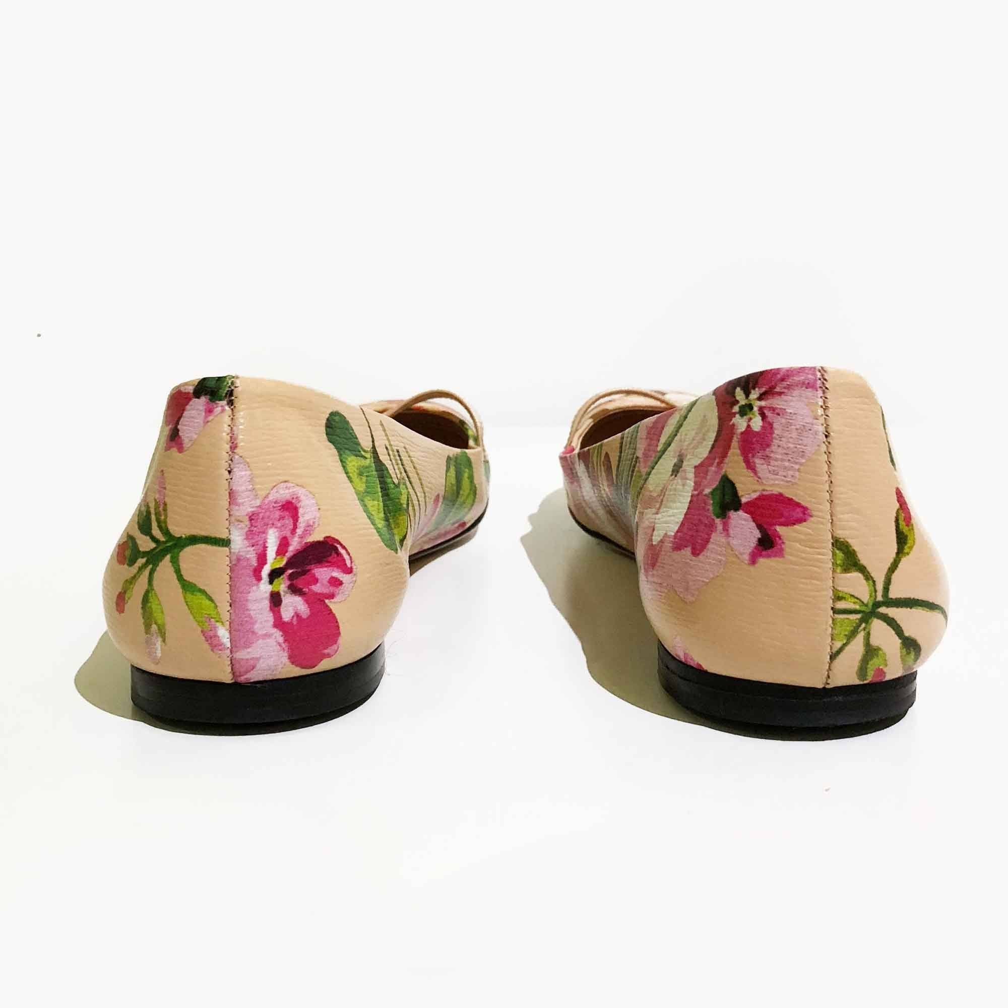 Gucci 'Shanghai Blooms' leather Mary Jane flats
