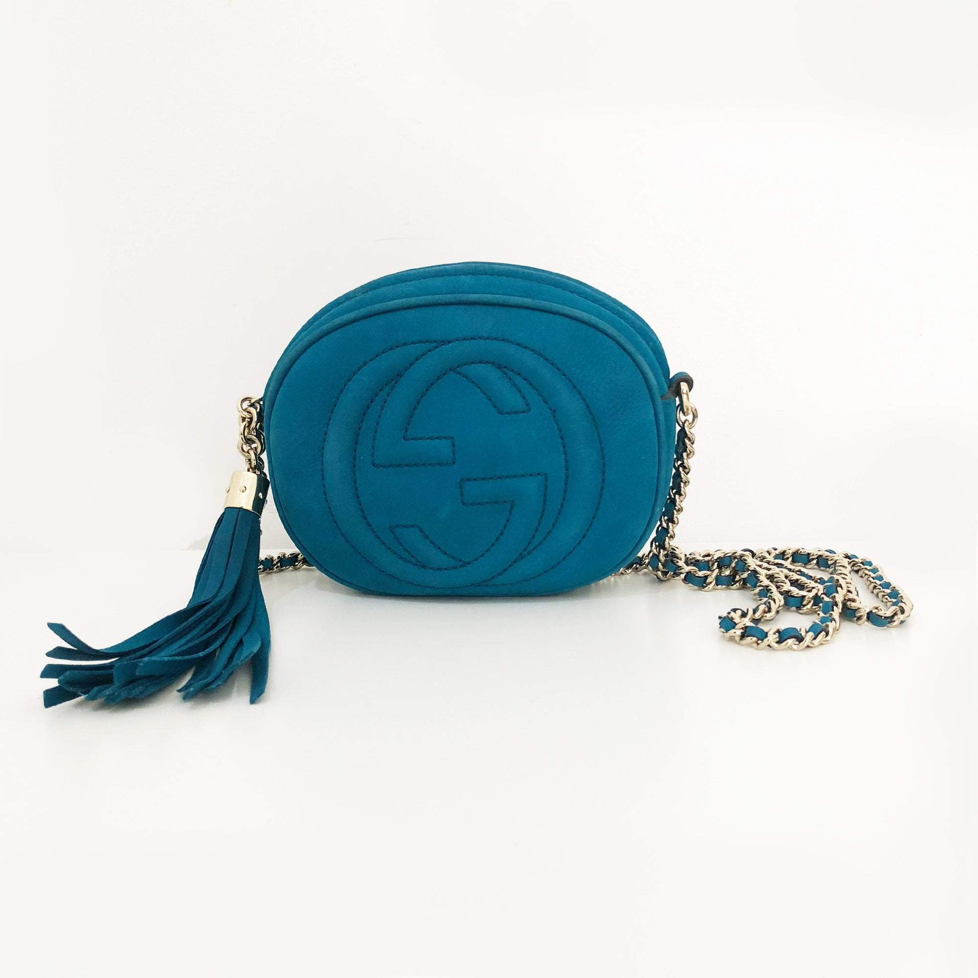 Gucci Soho Nubuck Leather Mini Chain Bag, Turquoise