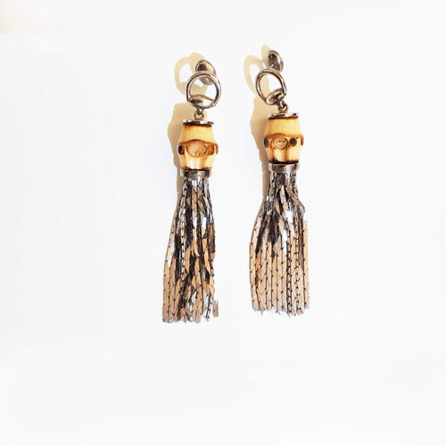 Gucci Sterling Silver Bamboo Foxtail Earrings