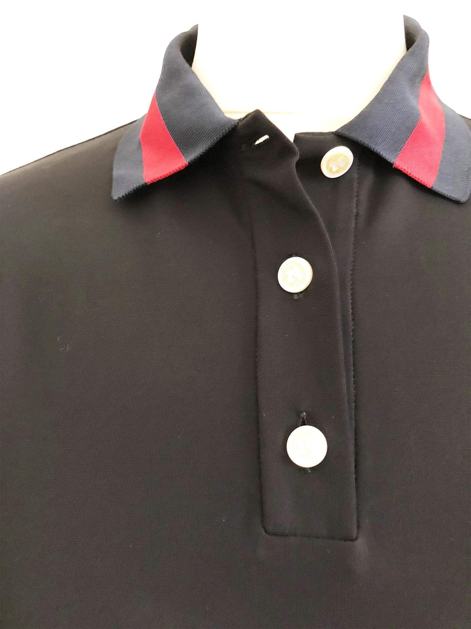 Gucci Black Stretch Viscose Polo Shirt