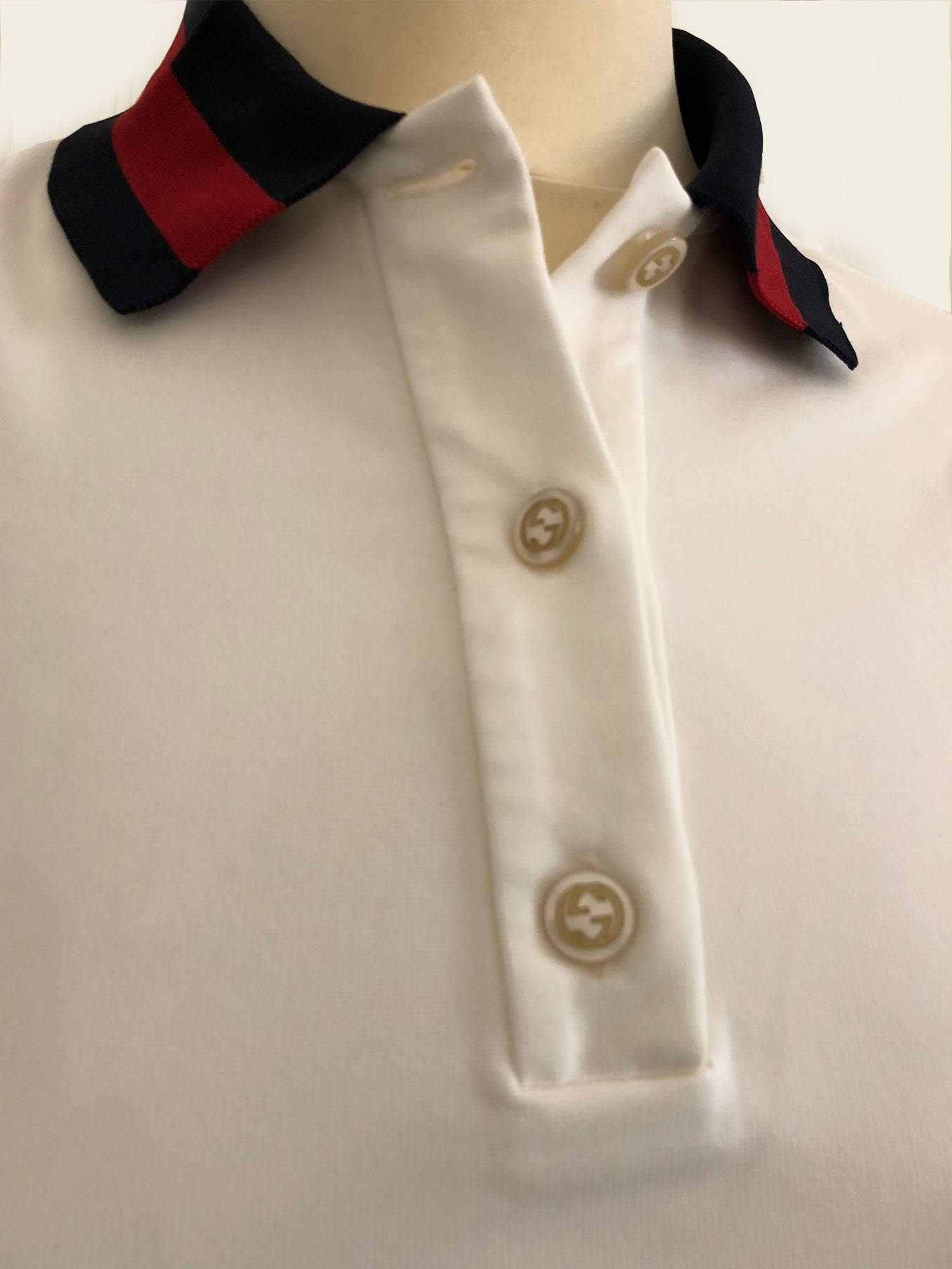 Gucci White Stretch Viscose Polo Shirt